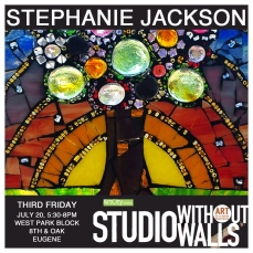 MEET THE ARTIST: Stephanie Jackson is a mosaic artist who works most frequently with stained glass, tiles, and beads. Stephanie enjoys inviting community into the mosaic process. During Shop Without Wall, Stephanie envisions creating a mosaic tabletop that will continue to be used as a place where community gathers around a beautiful, functional piece that was created by community. #stephaniejackson #mosaicartist #artcityeugene #artcity #studiowithoutwalls #eugfun #eugeneoregon #eugeneartist #eugenejuly202018 #eugeneculturalservices