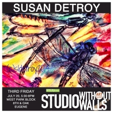 MEET THE ARTIST: Susan Detroy works in several series of work. One series is her botanical transfer mixed media prints. For this process she uses a historical photographic process, liquid and gel transfers, pens, ink and watercolor. The prints give voice for cactus and dragonfly, telling the world about our botanical and biologic siblings. The series communicates how we must care for our earthly family members and understand their existence, strength and vulnerability. Susan will demonstrate mixed media transfer printing at Studio Without Walls.  susandetroy.foliohd.com #susandetroy #artsolutions #photographer #artcityeugene #artcity #studiowithoutwalls #eugfun #eugeneoregon #eugeneartist #eugenejuly202018 #eugeneculturalservices