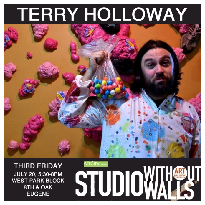 MEET THE ARTIST: Terry Holloway is a Multimedia Artist who works with many interconnected mediums such as video, sound, light, installation, and performance. Much of his work is large-scale and immersive; dealing with over exaggerated scenes of daily life and American pop culture. Terry often looks for unusual and unique spaces to install technology-based work. He likes to collaborate with the community and other artists. terryholloway.com #terryholloway #artcityeugene #artcity #studiowithoutwalls #eugfun #eugeneoregon #eugeneartist #eugenejuly202018 #eugeneculturalservices